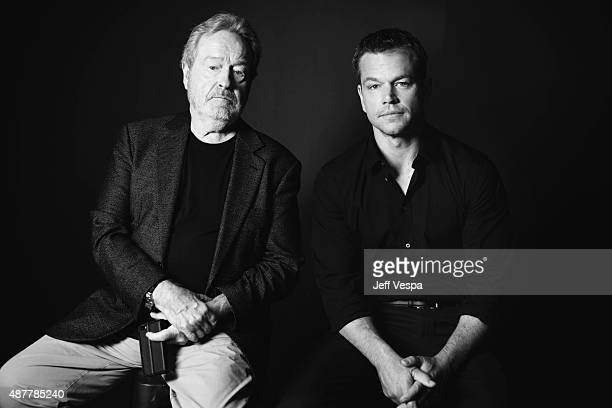 Director Ridley Scott and actor Matt Damon from 'The Martian' pose for a portrait during the 2015 Toronto International Film Festival at the TIFF...