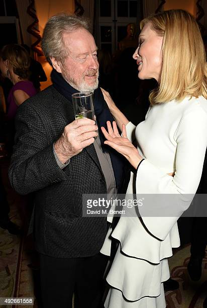 Director Ridley Scott and actress Cate Blanchett attend The Academy Of Motion Pictures Arts Sciences new members reception hosted by Ambassador...