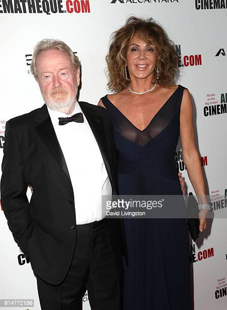 Director Ridley Scott and actress Giannina Facio arrive at the 30th Annual American Cinematheque Awards Gala at The Beverly Hilton Hotel on October...