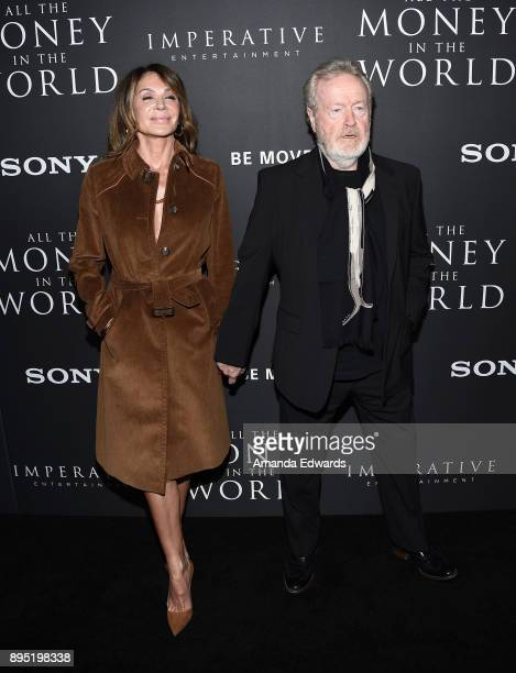 """Director Ridley Scott and actress Giannina Facio arrive at the premiere of Sony Pictures Entertainment's """"All The Money In The World"""" at the Samuel..."""