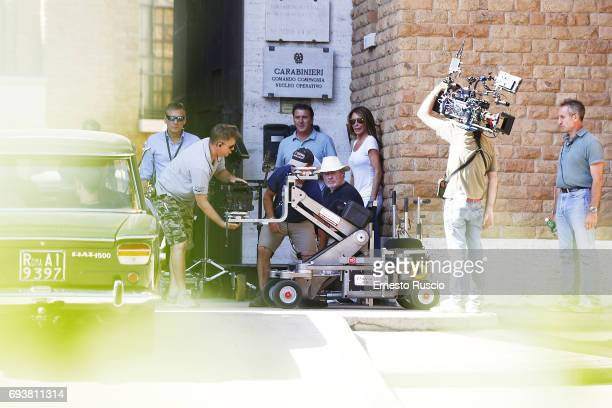Director Ridley Scott and Giannina Facio are seen during the 'All The Money In The World' filming at Castel Sant Angelo on June 8, 2017 in Rome,...