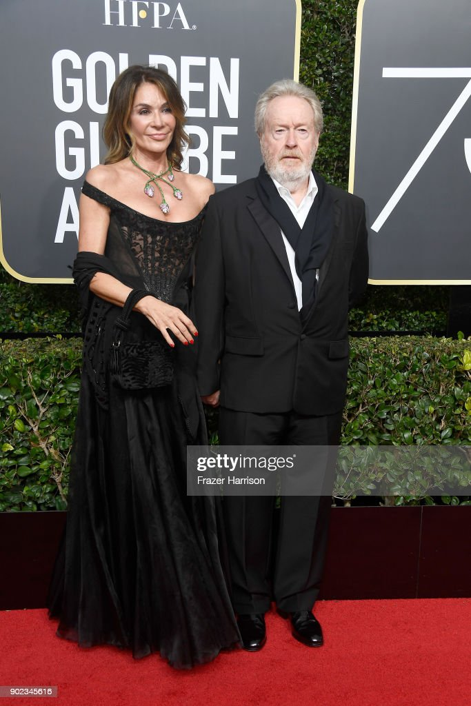 Director Ridley Scott (R) and Giannina Facio attend The 75th Annual Golden Globe Awards at The Beverly Hilton Hotel on January 7, 2018 in Beverly Hills, California.