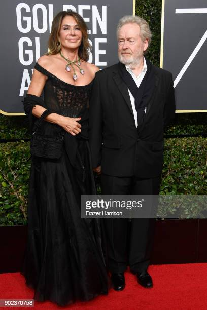 Director Ridley Scott and Giannina Facio attend The 75th Annual Golden Globe Awards at The Beverly Hilton Hotel on January 7, 2018 in Beverly Hills,...