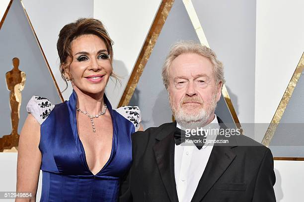 Director Ridley Scott and Giannina Facio attend the 88th Annual Academy Awards at Hollywood & Highland Center on February 28, 2016 in Hollywood,...