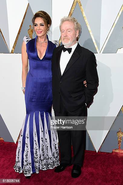 Director Ridley Scott and Giannina Facio attend the 88th Annual Academy Awards at Hollywood Highland Center on February 28 2016 in Hollywood...