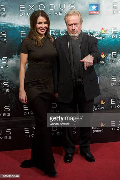 "Director Ridley Scott and Giannina Facio attend the ""Exodus Gods and Kings"" at the Kinepolis cinema on December 4, 2014 in Madrid, Spain."