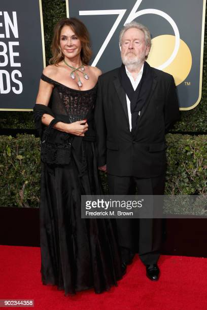 Director Ridley Scott and Giannina Facio attends The 75th Annual Golden Globe Awards at The Beverly Hilton Hotel on January 7, 2018 in Beverly Hills,...