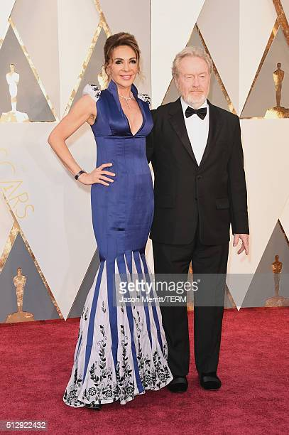 Director Ridley Scott and producer Giannina Facio attend the 88th Annual Academy Awards at Hollywood & Highland Center on February 28, 2016 in...