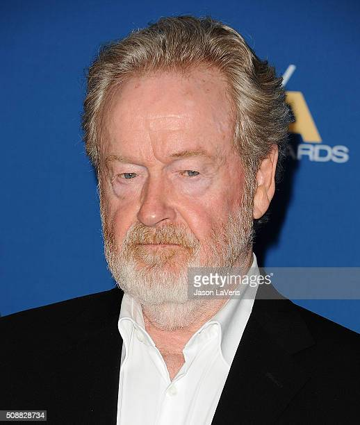 Director Ridley Scott attends the 68th annual Directors Guild of America Awards at the Hyatt Regency Century Plaza on February 6 2016 in Los Angeles...