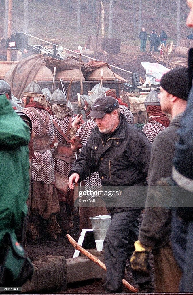 Director Ridley Scott on set of new film Gladiator, being filmed at Bourne Wood.