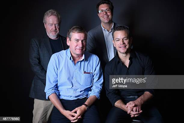Director Ridley Scott producers Mark Huffam Michael Schaefer and actor Matt Damon from 'The Martian' pose for a portrait during the 2015 Toronto...
