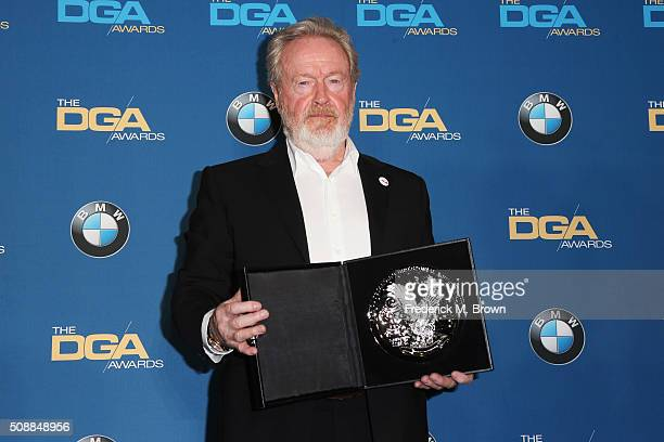 "Director Ridley Scott recipient of the Feature Film Nomination Plaque for ""The Martian"" poses in the press room during the 68th Annual Directors..."