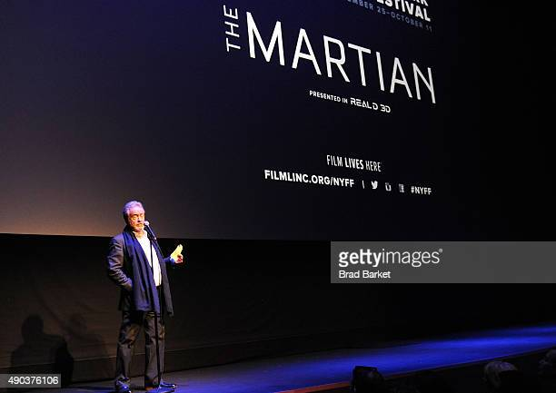 Director Ridley Scott speaks at the 53rd New York Film Festival 'The Martian' Premiere Red Carpet at Alice Tully Hall on September 27 2015 in New...