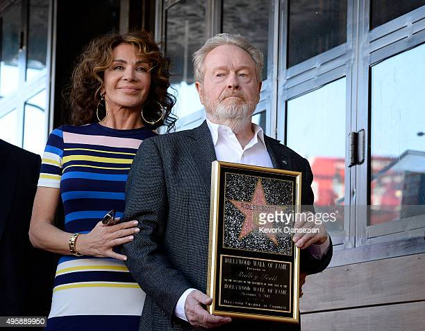 Director Ridley Scott , who was honored with a Hollywood Walk of Fame Star, poses with his wife Giannina Facio November 5 in Hollywood, California.