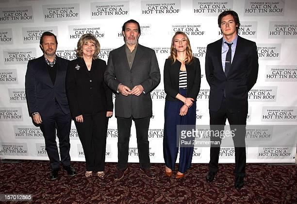 "Director Rob Ashford and actors Debra Monk, Ciaran Hinds, Scarlett Johansson and Benjamin Walker attend ""Cat On A Hot Tin Roof"" photo call at Sardi's..."