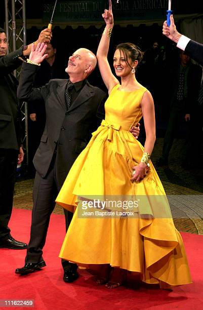 """Director Rob Cohen & Asia Argento during Deauville 2002 - """"XXX"""" Premiere at C.I.D Deauville in Deauville, France."""