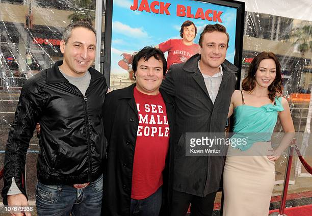 Director Rob Letterman actors Jack Black Jason Segel and Emily Blunt arrive at the premiere of 20th Century Fox's 'Gulliver's Travels' at the Chinese...