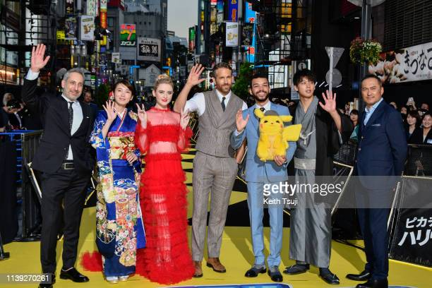 Director Rob Letterman, actress Marie Iitoyo, Kathryn Newton, actor Ryan Reynolds, Justice Smith, Ryoma Takeuchi and Ken Watanabe attend the world...