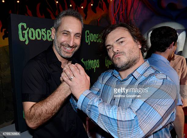 """Director Rob Letterman and actor Jack Black attend """"Goosebumps"""" photo call during Summer Of Sony Pictures Entertainment 2015 at The Ritz-Carlton..."""