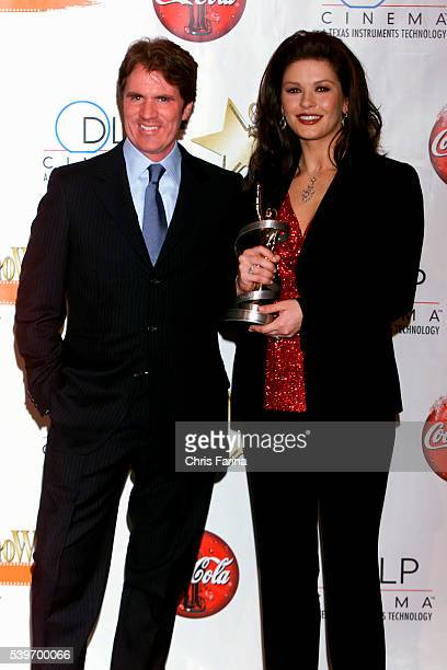 Director Rob Marshall and actress Catherine ZetaJones with her award for 'Supporting Actress of the Year' for her performance in 'Chicago' at the...