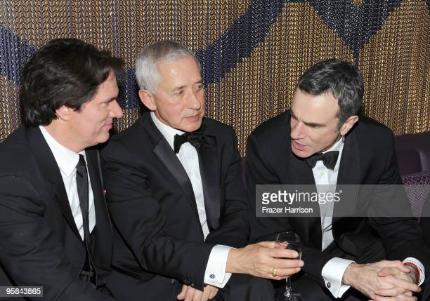 Director Rob Marshall, producer/choreographer John Deluca and actor Daniel Day-Lewis attend The Weinstein Company Golden Globes After Party held at...