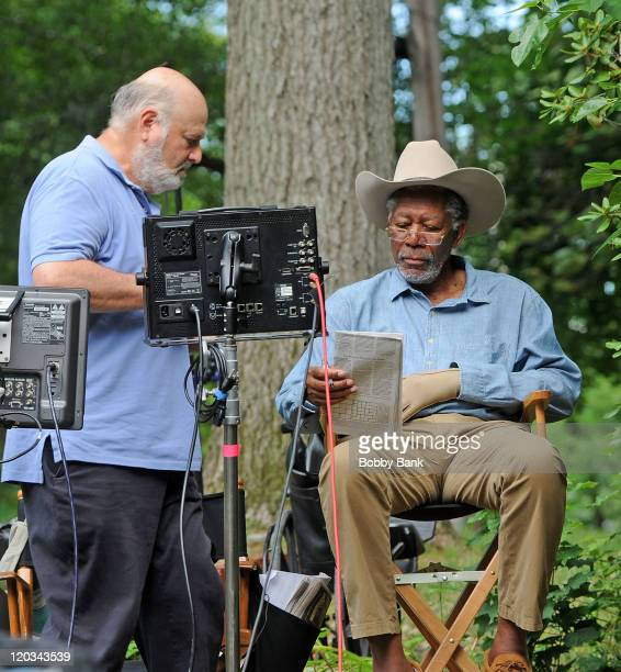 Director Rob Reiner and actor Morgan Freeman filming on location for 'Summer at Dog Dave's' on August 4 2011 in Greenwood Lake New York