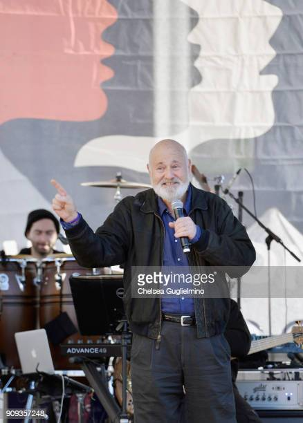 Director Rob Reiner speaks during the Women's March Los Angeles 2018 on January 20 2018 in Los Angeles California