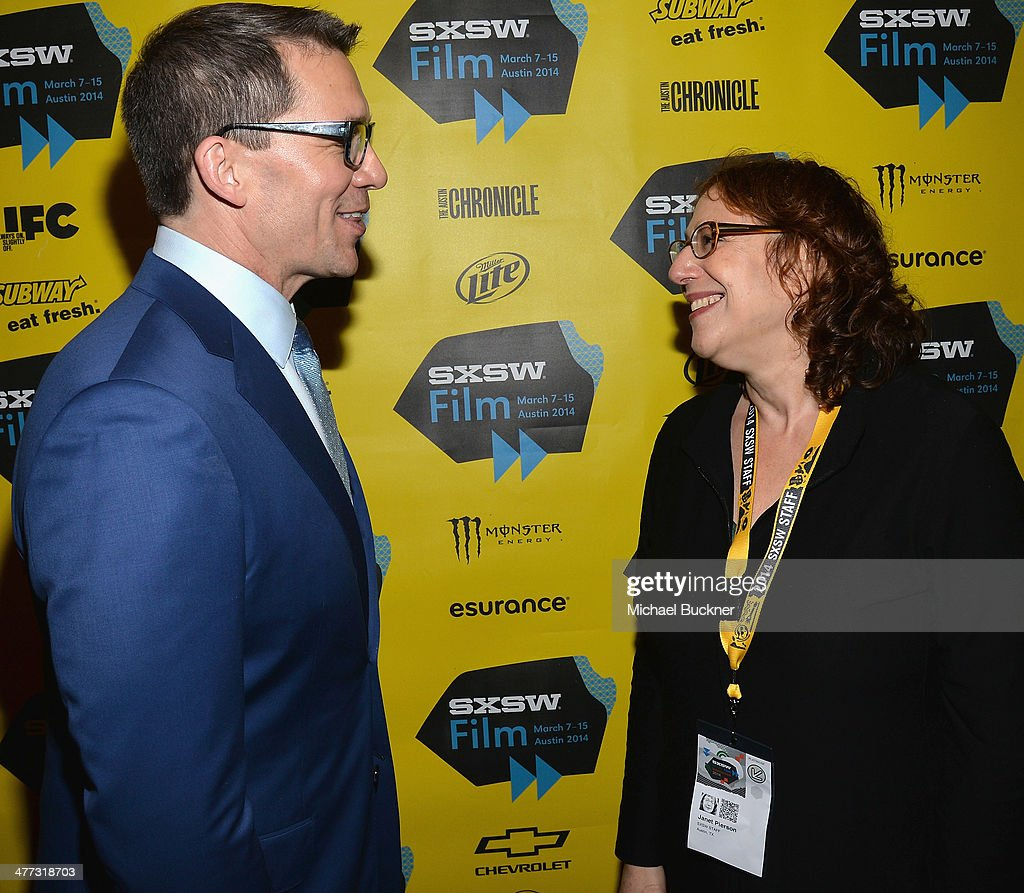 Director Rob Thomas (L) and Janet Pierson, SXSW Film Festival Director, arrive at the premiere of 'Veronica Mars' during the 2014 SXSW Music, Film + Interactive Festival at the Paramount Theatre on March 8, 2014 in Austin, Texas.