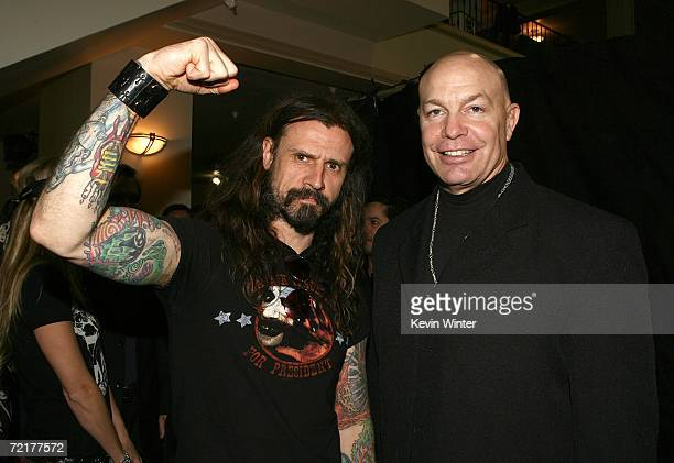Director Rob Zombie and actor Michael Bailey Smith pose backstage at the fuse Fangoria Chainsaw Awards at the Orpheum Theater on October 15 2006 in...