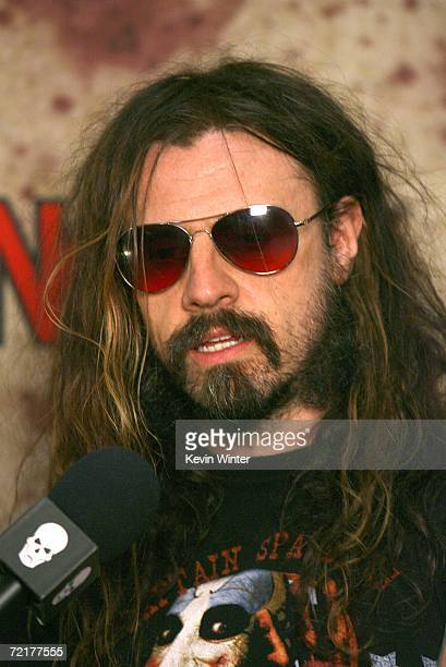 Director Rob Zombie talks with a reporter backstage at the fuse Fangoria Chainsaw Awards at the Orpheum Theater on October 15 2006 in Los Angeles...