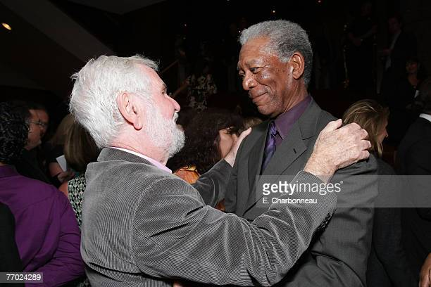 Director Robert Benton and Morgan Freeman at the Feast of Love Premiere at The Academy of Motion Picture Arts and Sciences on September 25 2007 in...