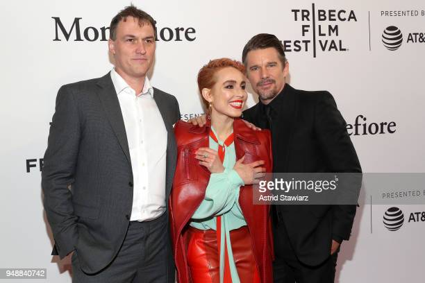 Director Robert Budreau actor Noomi Rapace and actor Ethan Hawke attend a screening of 'Stockholm' during the 2018 Tribeca Film Festival at SVA...