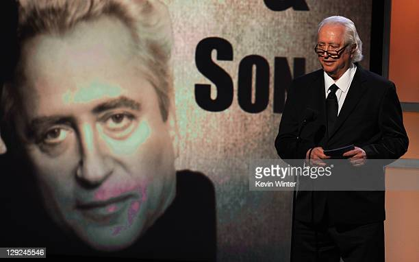 Director Robert Downey Sr speaks onstage during The 25th American Cinematheque Award Honoring Robert Downey Jr held at The Beverly Hilton hotel on...