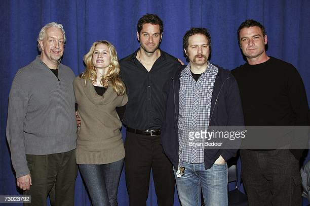 Director Robert Falls poses with actors Stephanie March Peter Hermann Erik Jensen and Liev Schreiber before a rehearsal for Broadways Talk Radio at...