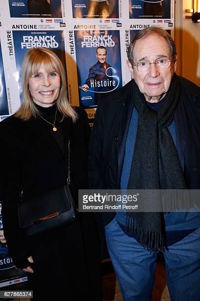 Director Robert Hossein and his wife Candice Patou attend Franck Ferrand performs in his Show Histoires at Theatre Antoine on December 5 2016 in...