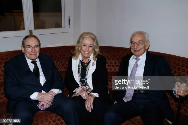 Director Robert Hossein Isidore Partouche and his wife attend Robert Hossein celebrates his 90th Anniversary at 'Laurent Restaurant' on January 8...