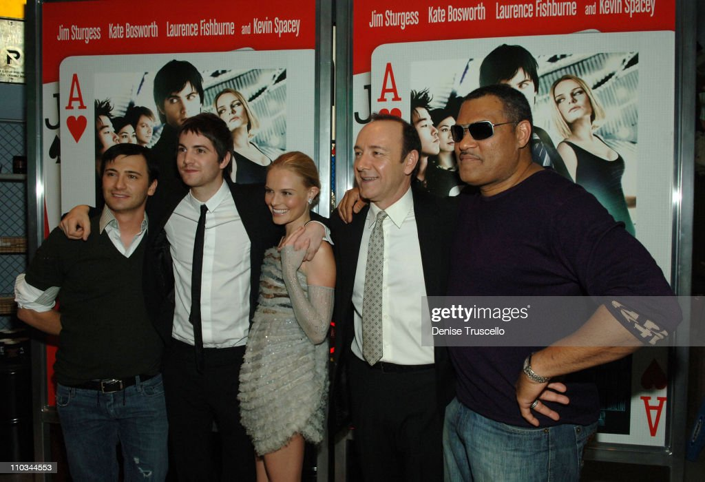 Director Robert Luketic, actor Jim Sturgess, actress Kate Bosworth, actor Kevin Spacey and actor Laurence Fishburne attend the premiere of '21' at the Planet Hollywood Resort & Casino on March 12, 2008 in Las Vegas, Nevada.