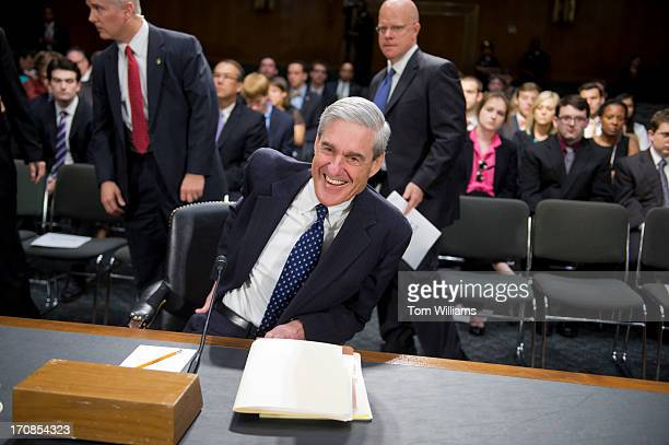 Director Robert Mueller arrives for a Senate Judiciary Committee hearing in Dirksen Building on oversight of the FBI