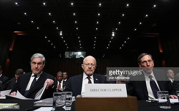 FBI Director Robert Mueller Director of National Intelligence James Clapper and CIA Director David Petraeus appear before the Senate Select Committee...