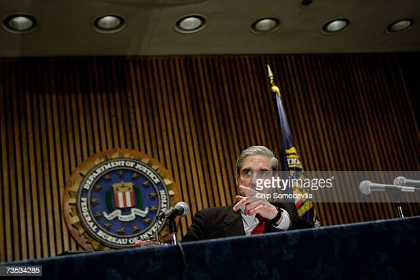 I Director Robert Mueller holds a news conference at the bureau's headquaters March 9 2007 in Washington DC Mueller was responding to a report by the...