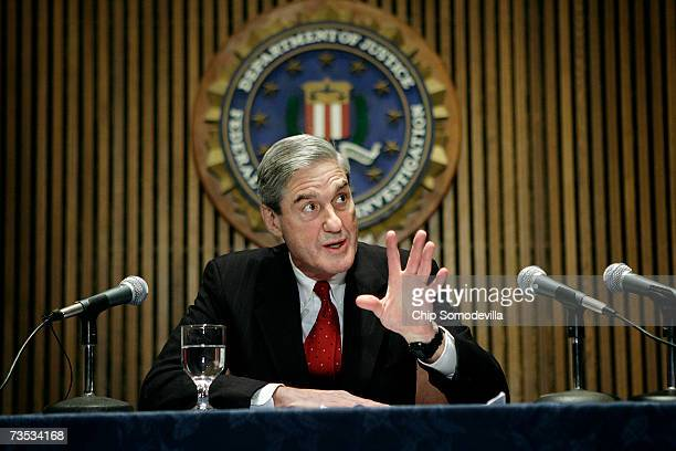 I Director Robert Mueller speaks at a news conference at the bureau's headquaters March 9 2007 in Washington DC Mueller was responding to a report by...