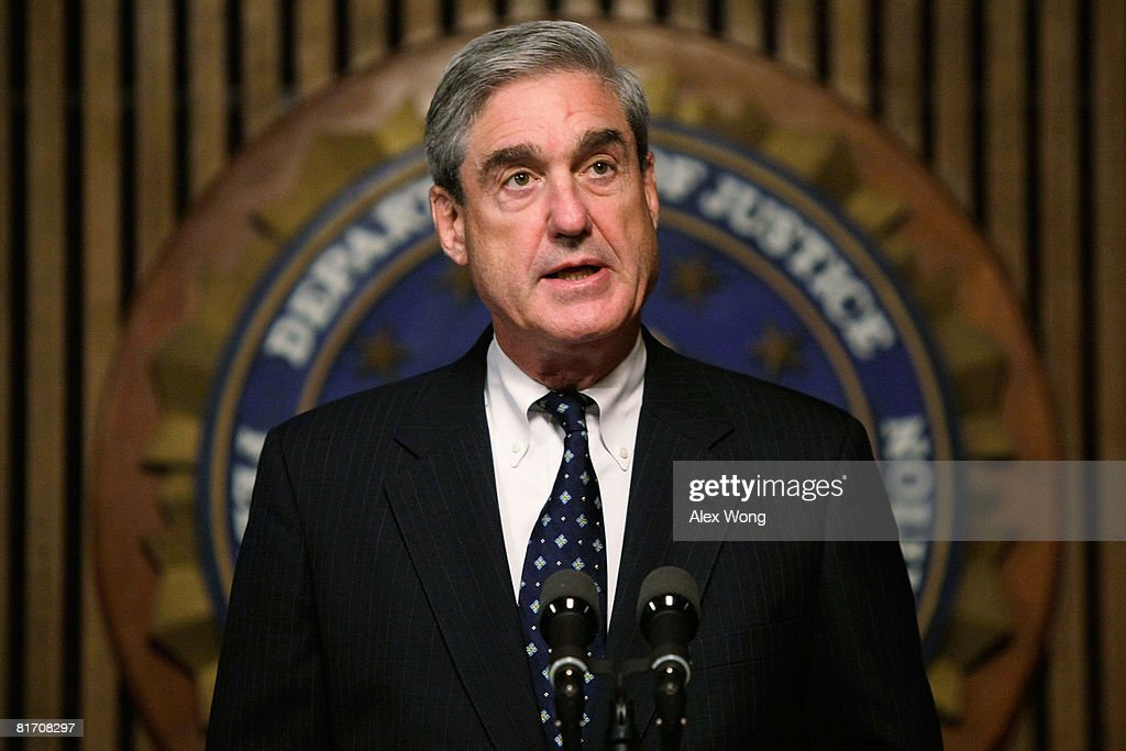 Director Robert Mueller speaks during a news conference at the FBI headquarters June 25, 2008 in Washington, DC. The news conference was to mark the 5th anniversary of Innocence Lost initiative.