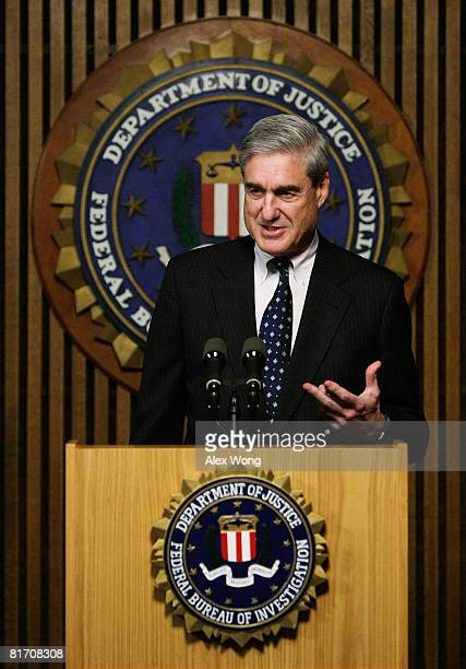 Director Robert Mueller speaks during a news conference at the FBI headquarters June 25 2008 in Washington DC The news conference was to mark the 5th...