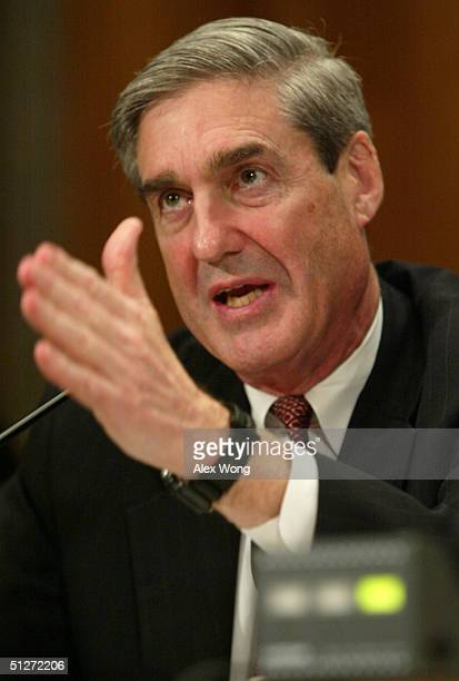 Director Robert Mueller testifies during a hearing before the Senate Governmental Affairs Committee on Capitol Hill September 8 2004 in Washington DC...