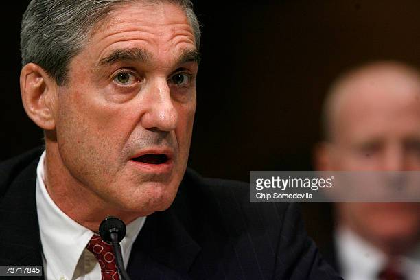 Director Robert Mueller testifies to the Senate Judiciary Committee about bureau oversight March 27 2007 in Washington DC Members of the committee...