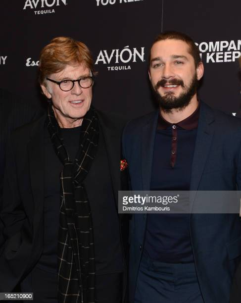 Director Robert Redford and Actor Shia LaBeouf attend 'The Company You Keep' New York Premiere at MOMA on April 1 2013 in New York City