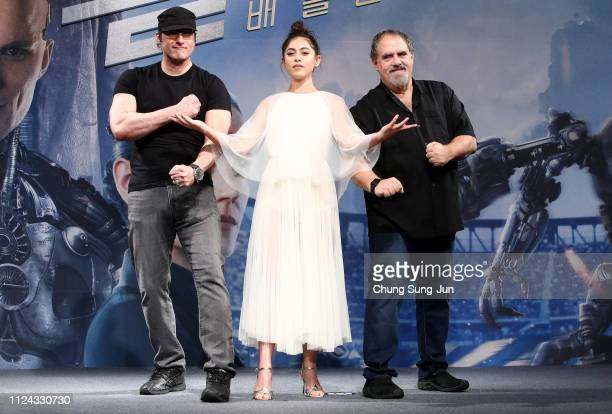 Director Robert Rodriguez actress Rosa Salazar and producer Jon Landau attend the press conference for 'Alita Battle Angel' South Korea premiere on...