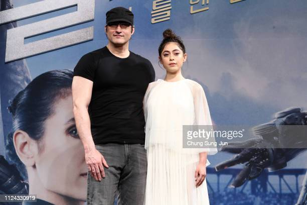 Director Robert Rodriguez and actress Rosa Salazar attend the press conference for 'Alita Battle Angel' South Korea premiere on January 24 2019 in...