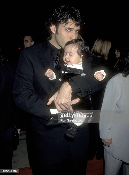 Director Robert Rodriguez and son Rocket Rodriguez attend the From Dusk Till Dawn Hollywood Premiere on January 17 1996 at Pacific's Cinerama Dome in...