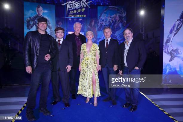 Director Robert Rodriguez Author Yukito Kishiro Director James Cameron Actor Rosa Salazar Actor Christoph Waltz and Producer Jon Landau attends the...